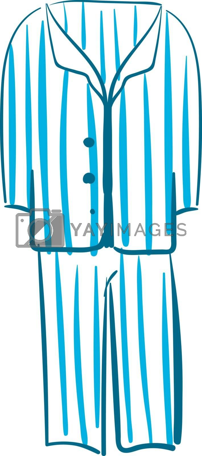 Royalty free image of Sketch drawing of men's night suit in white color with blue stri by Morphart