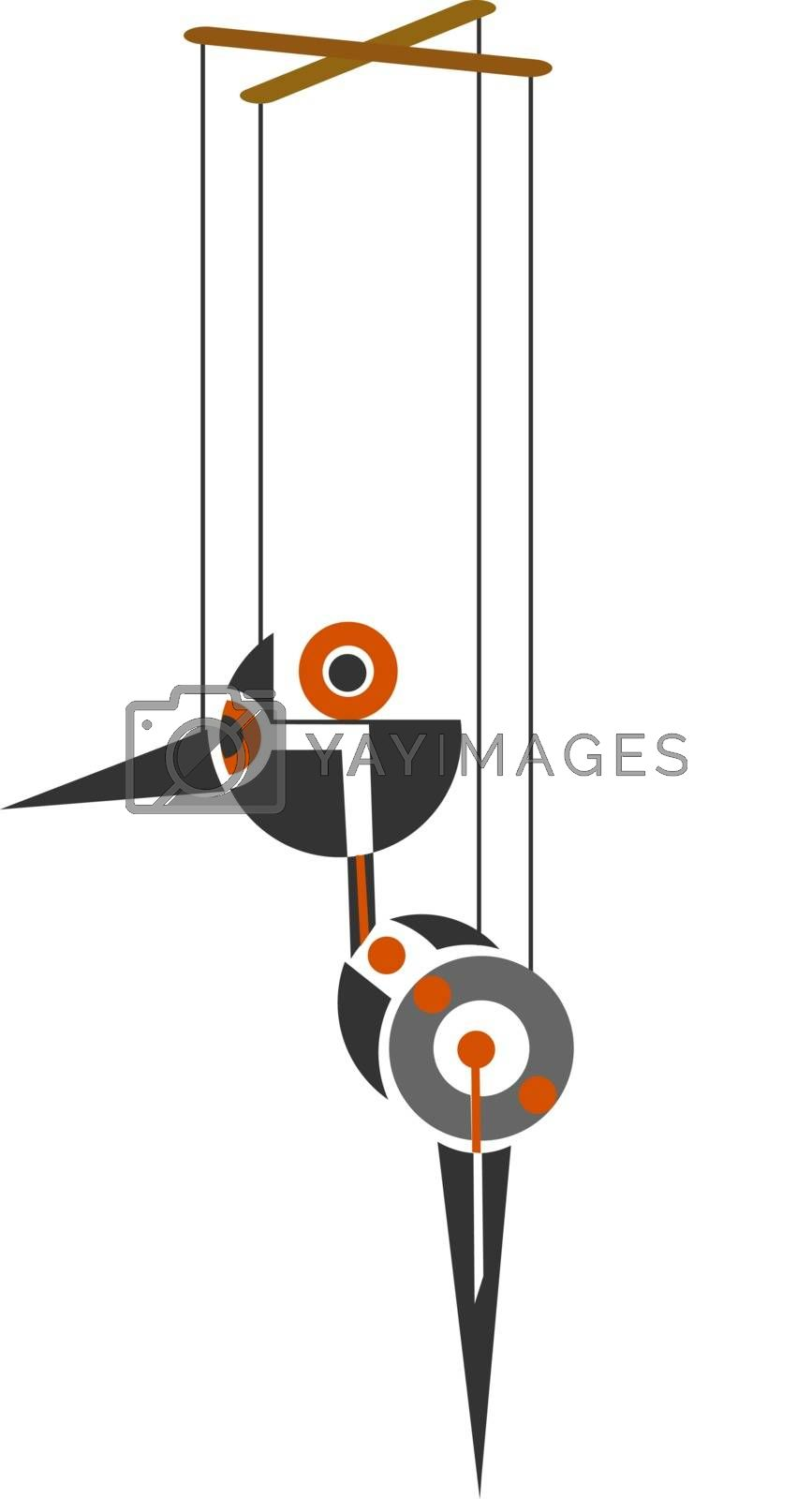 Royalty free image of Cartoon picture of marionette birds  vector or color illustratio by Morphart