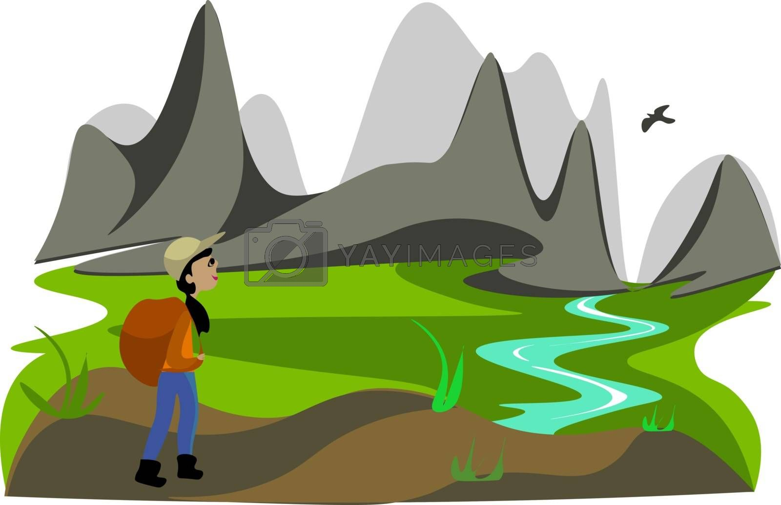 Royalty free image of Portrait of a lady hiker vector or color illustration by Morphart