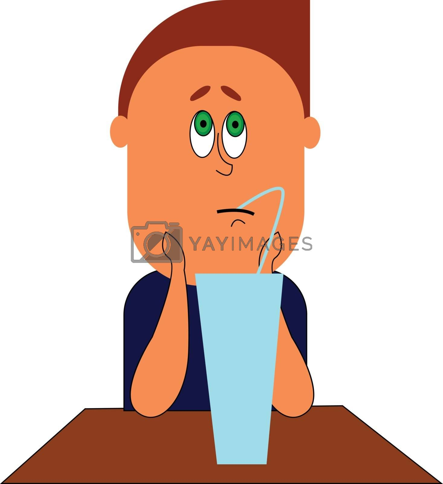 Royalty free image of A sad boy drinking fresh juice vector or color illustration by Morphart