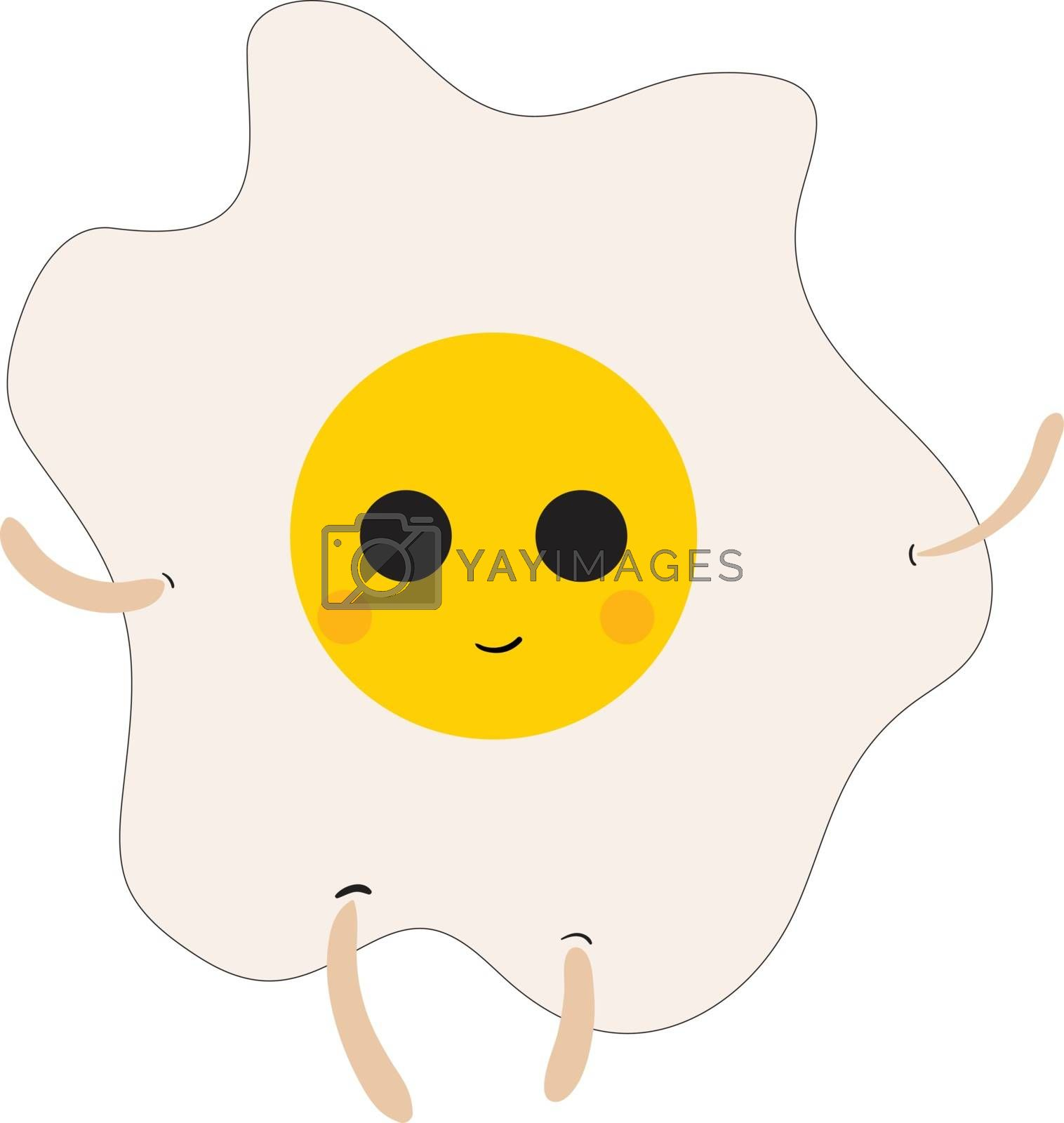 Royalty free image of Emoji of a smiling sunny side up egg vector or color illustratio by Morphart