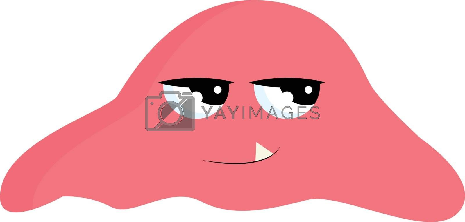 Royalty free image of Cartoon pink monster with a fang tooth projecting outward looks  by Morphart