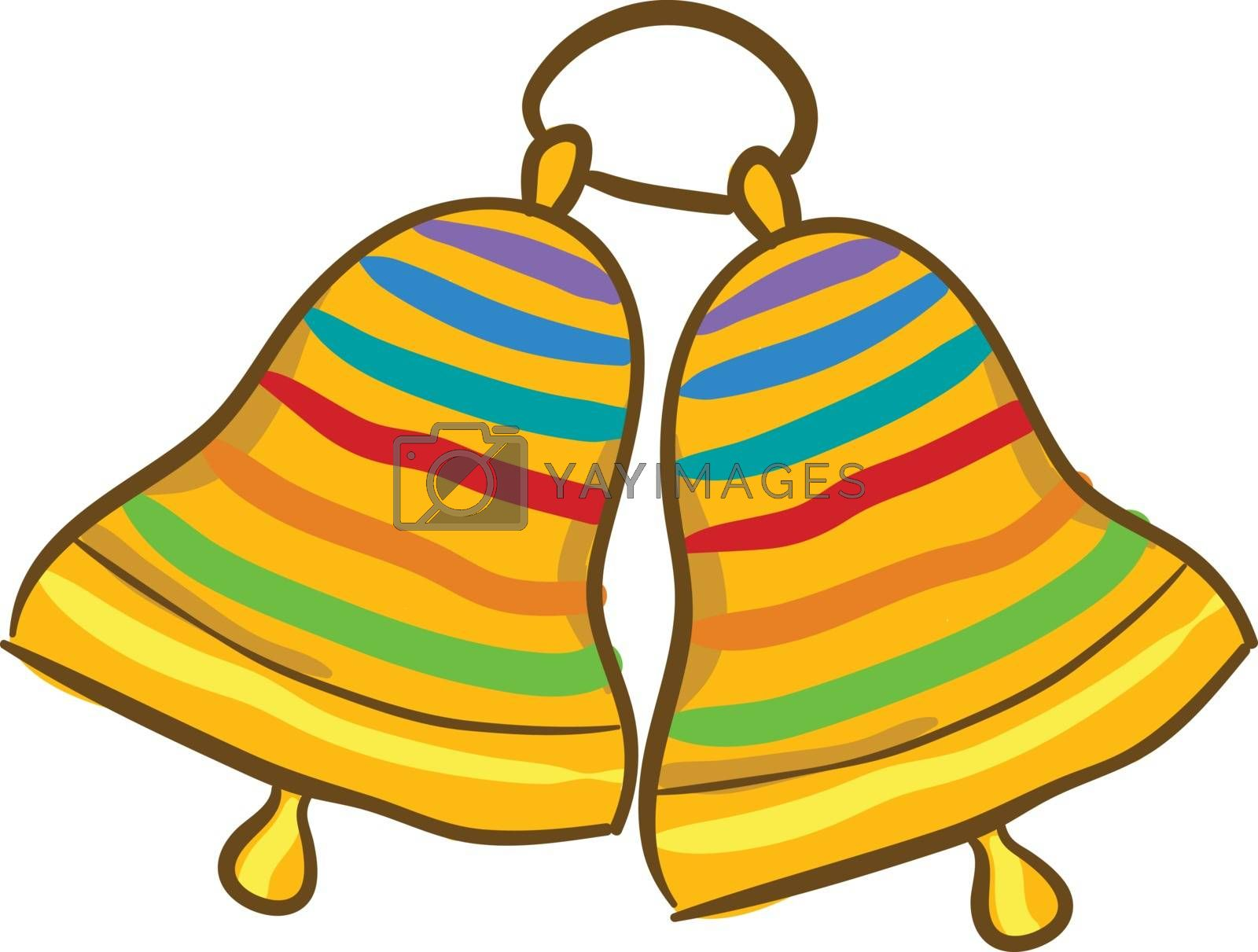Royalty free image of Painting of two ringing golden bells with multi-colored bands de by Morphart