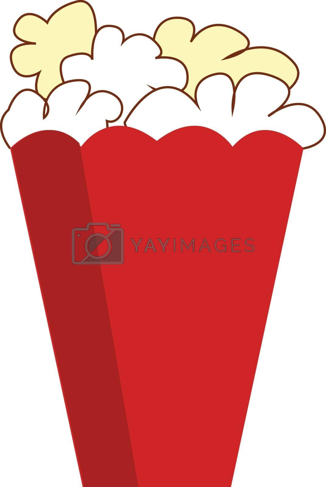 Royalty free image of Drawing of yummy popcorn in a red paper box over white backgroun by Morphart