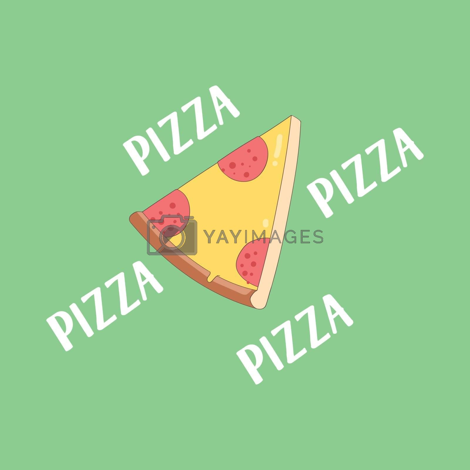 Royalty free image of Portrait of pizza over green background vector or color illustra by Morphart