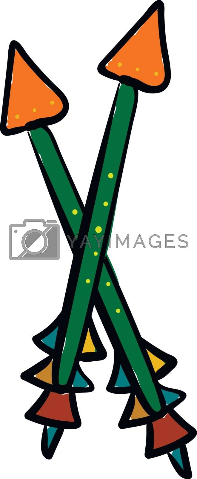 Royalty free image of Painting of two crossed colorful arrows vector or color illustra by Morphart