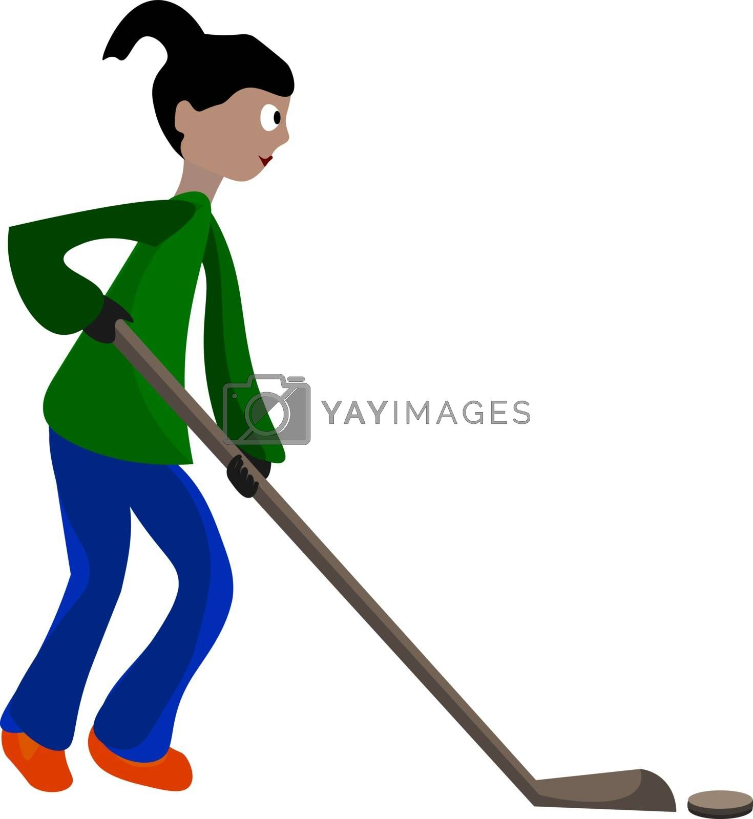 Royalty free image of A girl playing floor hockey vector or color illustration by Morphart