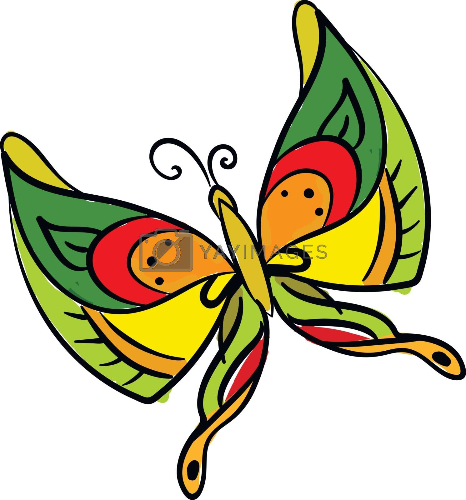 Royalty free image of Painting of a multi-colored butterfly set on isolated white back by Morphart