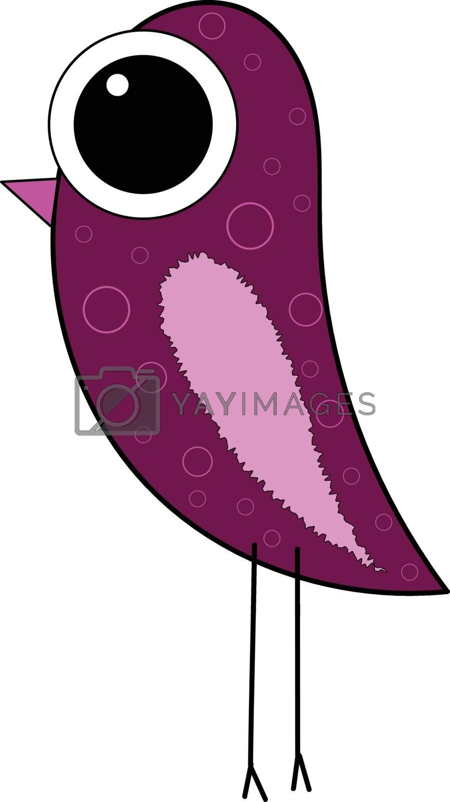 Royalty free image of Cartoon purple bird set on isolated white background viewed from by Morphart