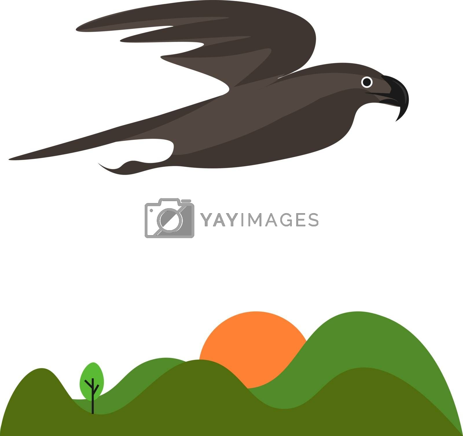 Royalty free image of The landscape of the sunrise and an eagle flying above the green by Morphart