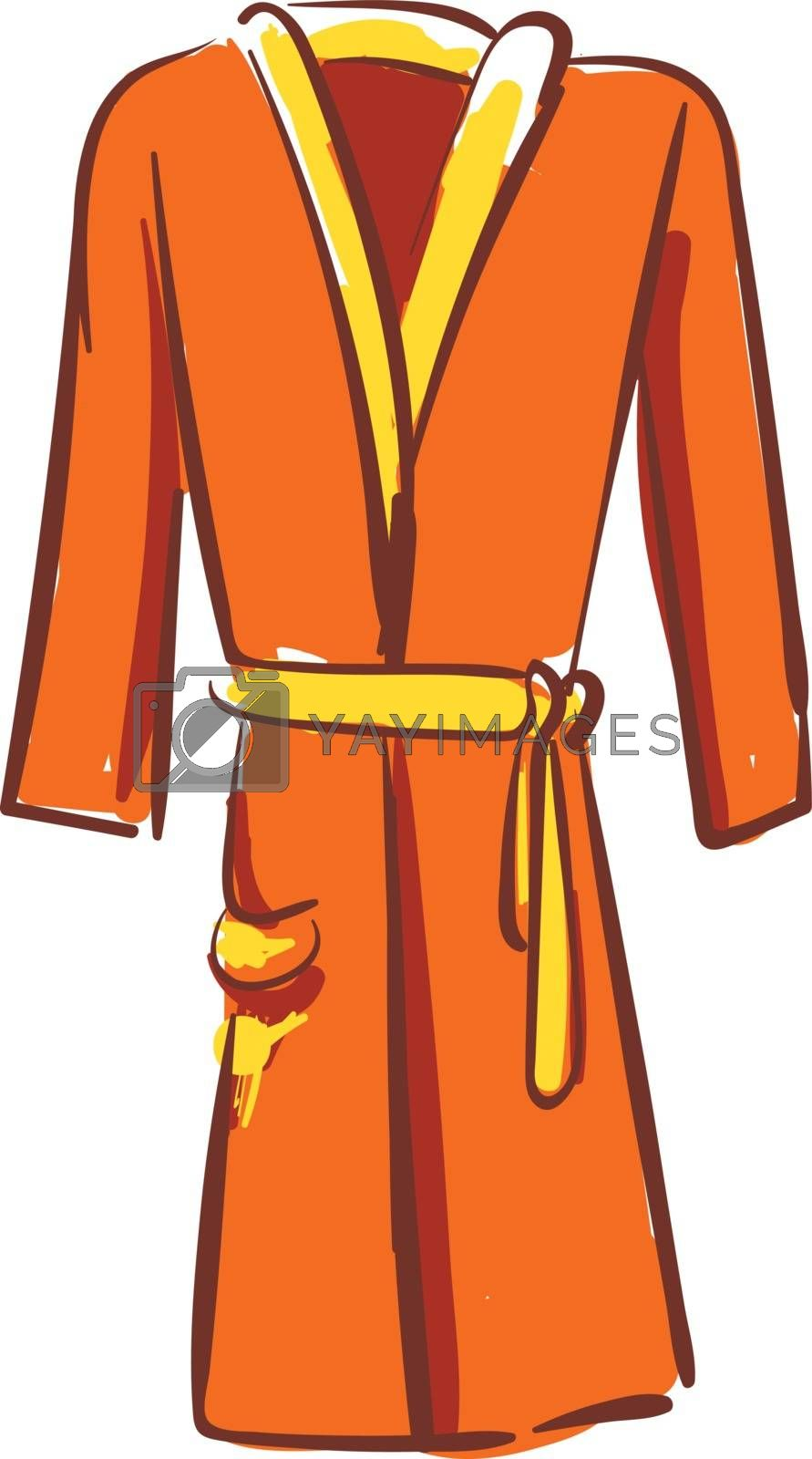 Royalty free image of A showcase orange-colored bathrobe over white background vector  by Morphart