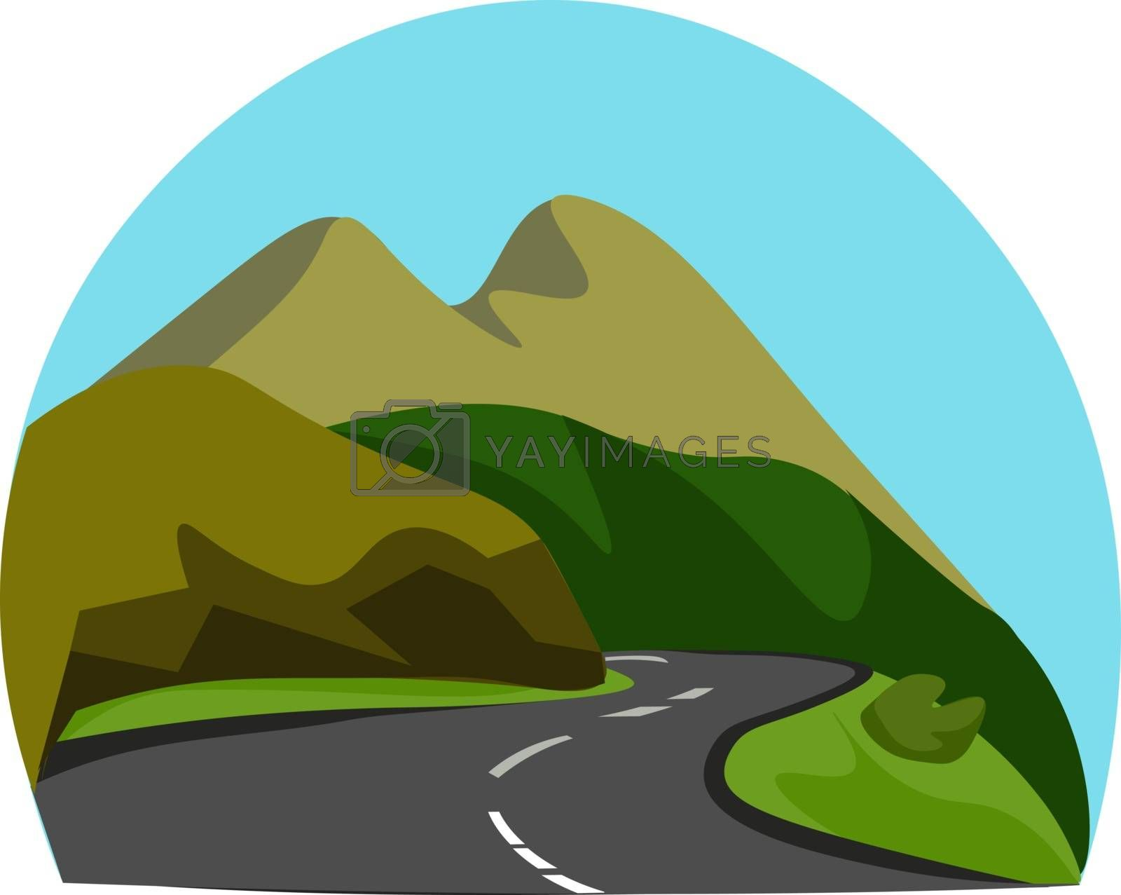 Royalty free image of Portrait of a mountainous road vector or color illustration by Morphart