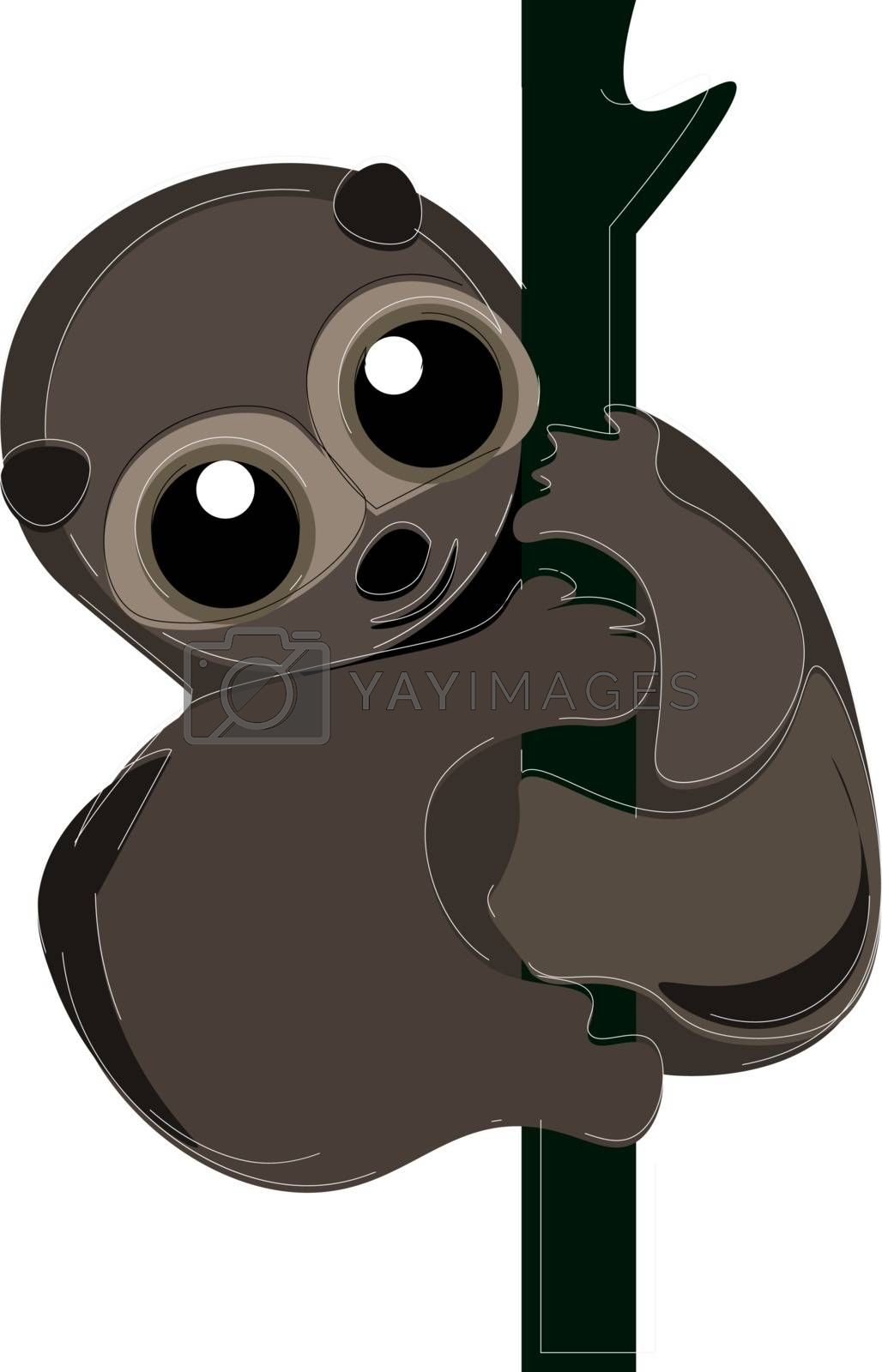 Royalty free image of Cartoon smiling brown loris primate vector or color illustration by Morphart