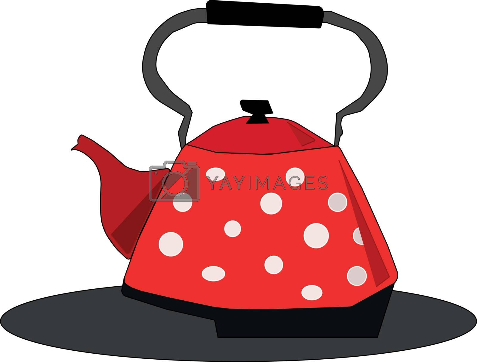 Royalty free image of Clipart of a red kettle/Teapot/Evening snacks time vector or col by Morphart