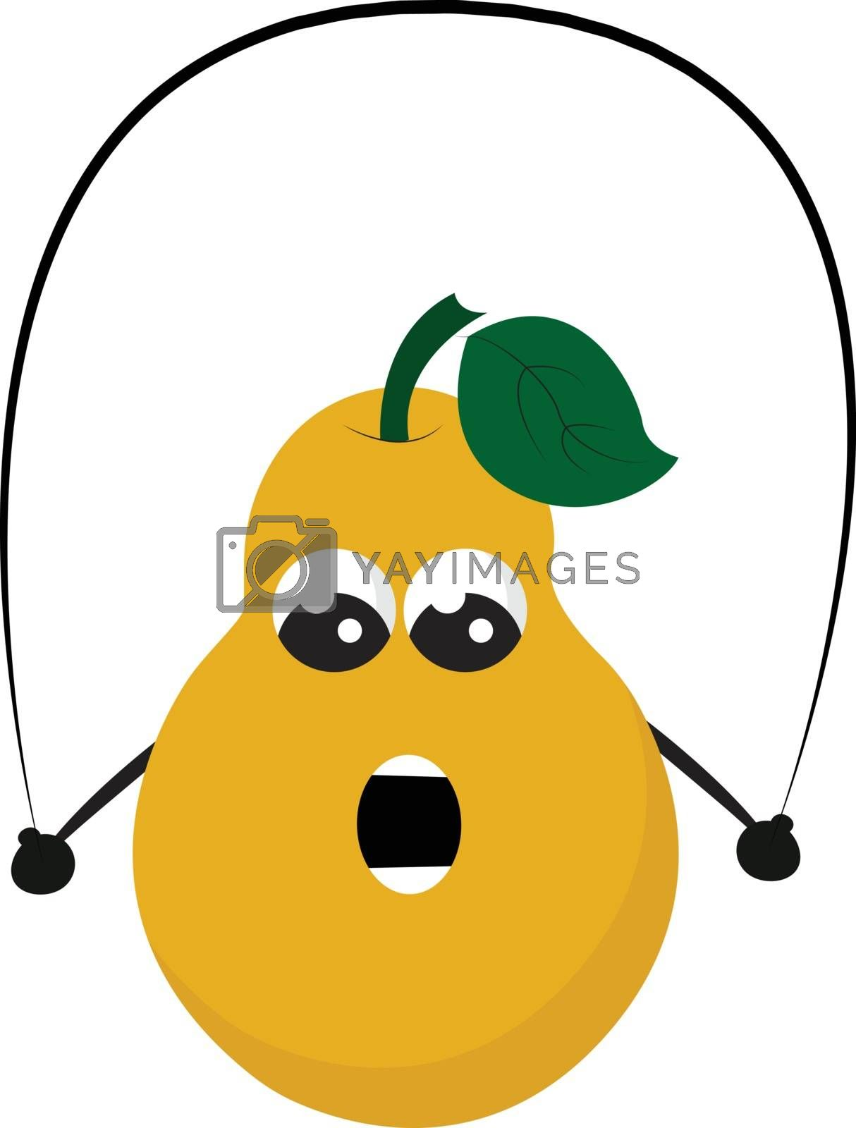 Royalty free image of Cartoon funny picture of a yellow pear fruit playing with a jump by Morphart