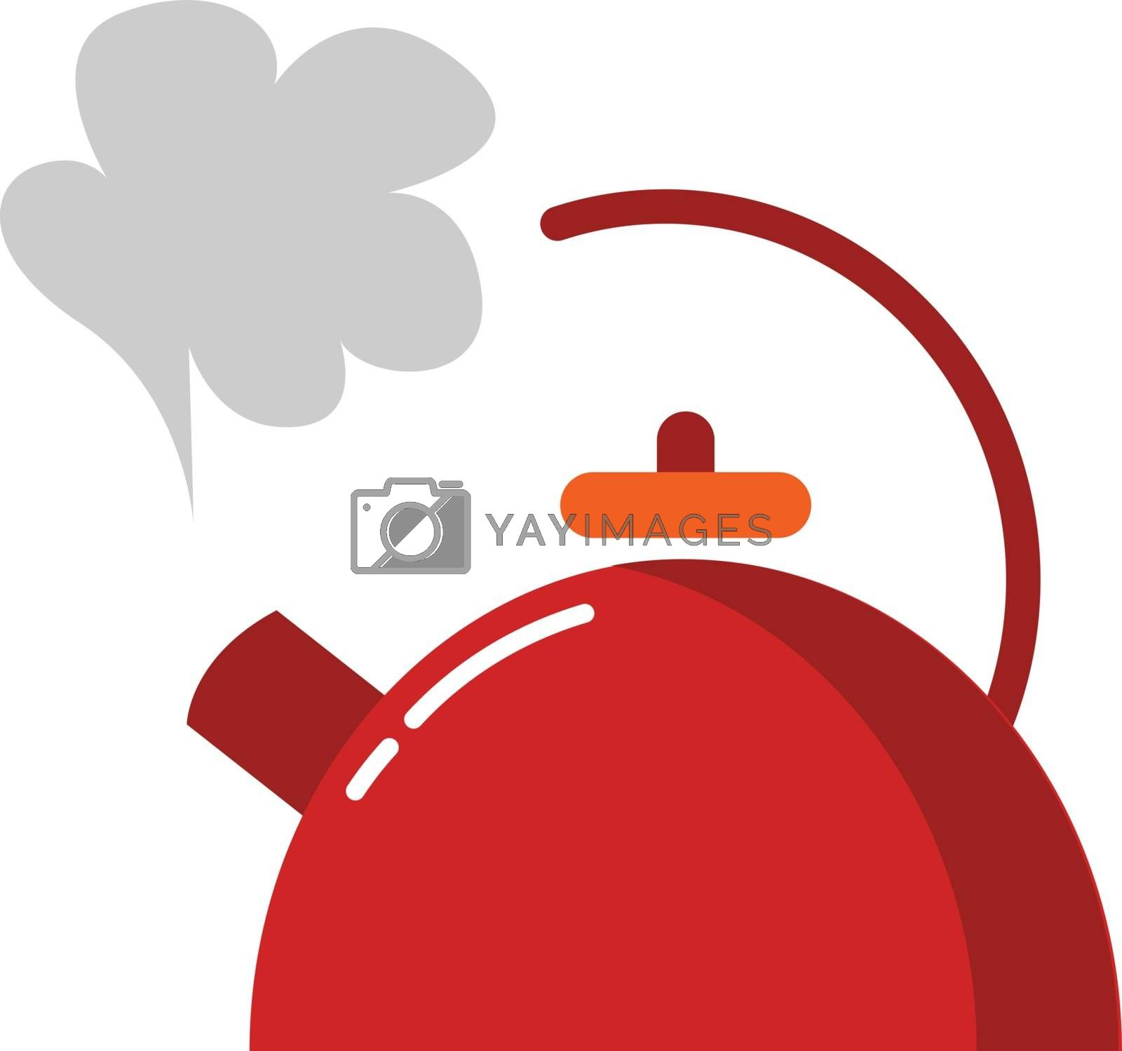 Royalty free image of A red-colored teapot/Evening snacks time vector or color illustr by Morphart