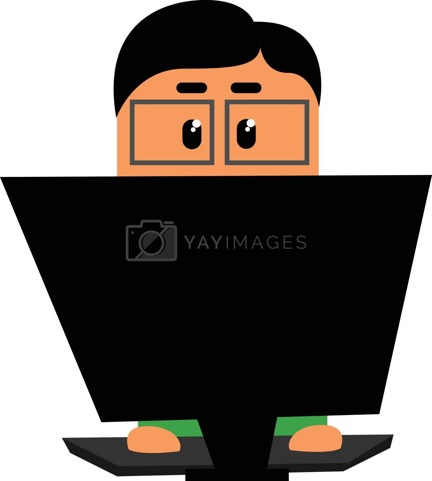 Royalty free image of Clipart of an officer working in his laptop set on isolated whit by Morphart