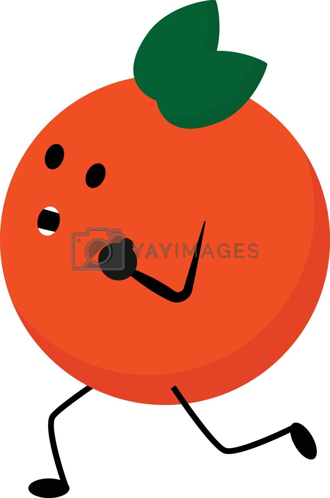 Royalty free image of Emoji of a running orange fruit vector or color illustration by Morphart