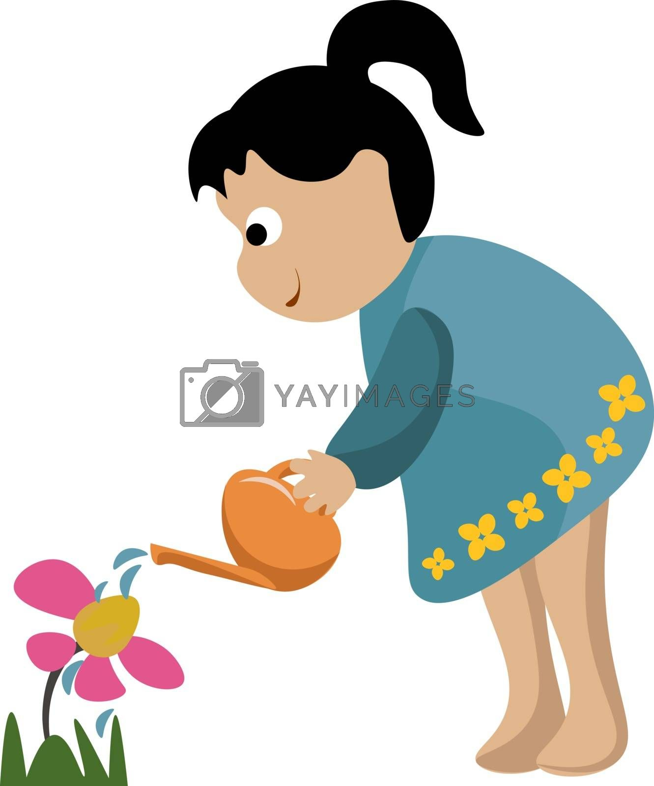Royalty free image of Portrait of a small girl watering the flowers in the garden vect by Morphart