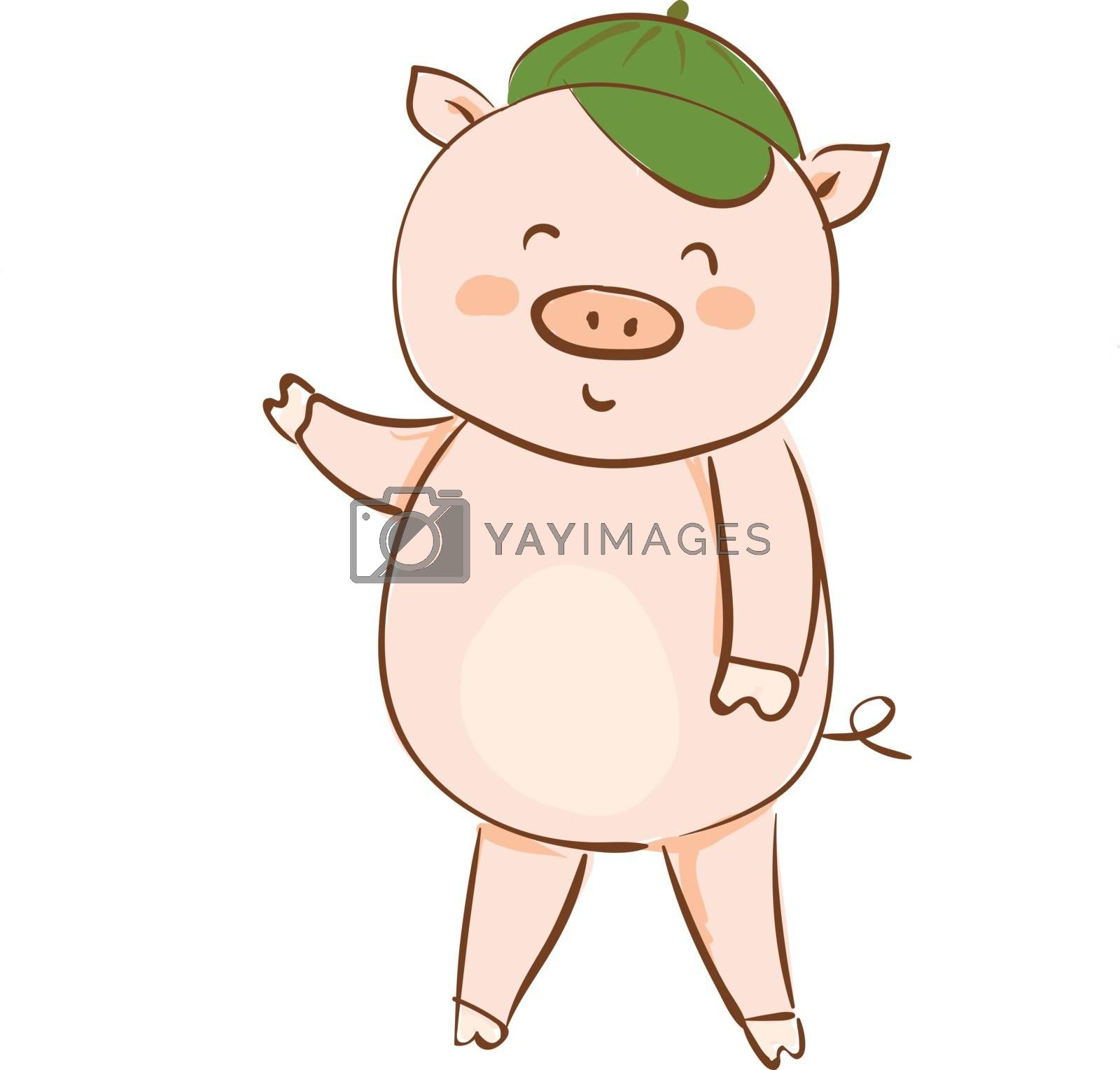Royalty free image of Drawing of a cartoon pig in a green summer cap waving his hand v by Morphart