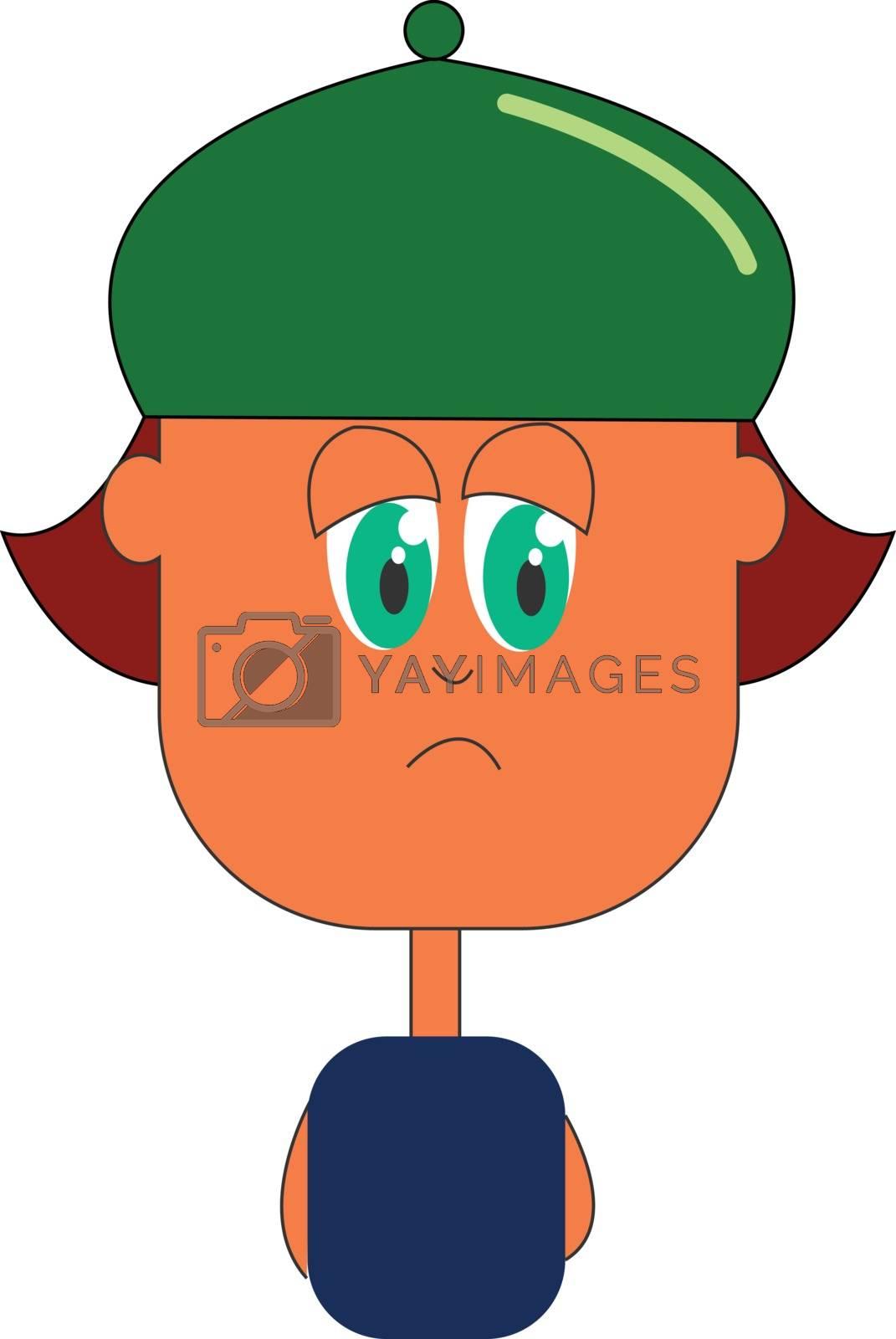 Royalty free image of Cartoon boy wearing a green hat backward vector or color illustr by Morphart