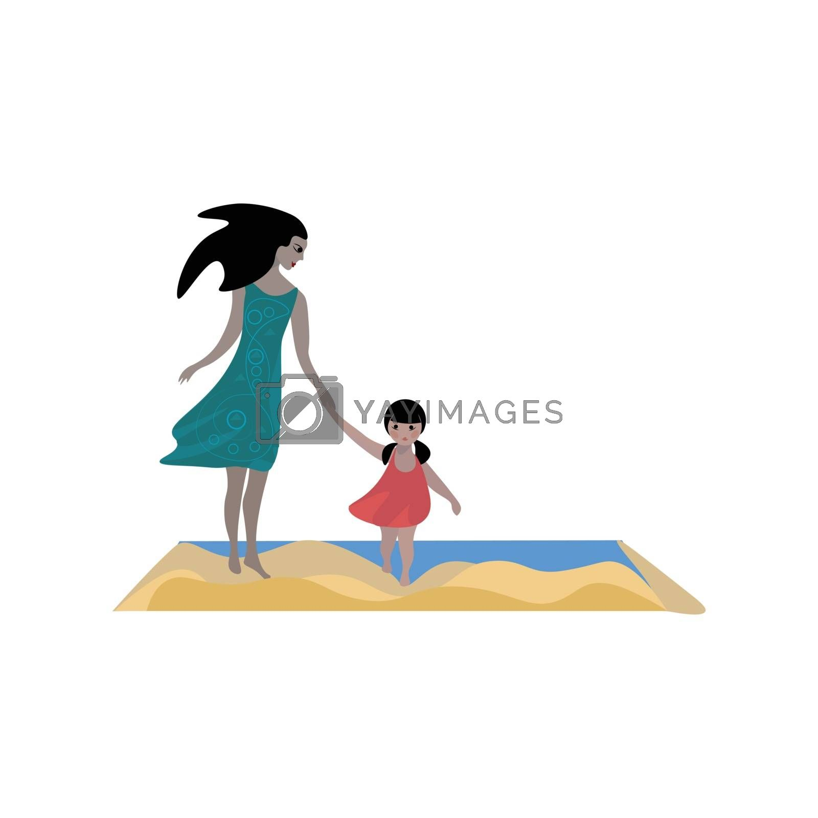 Royalty free image of Drawing of a beautiful mom and a lovely daughter vector or color by Morphart