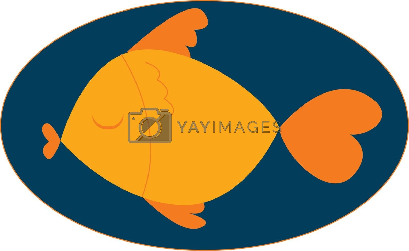 Royalty free image of Portrait of an orange colored fish over blue background vector o by Morphart