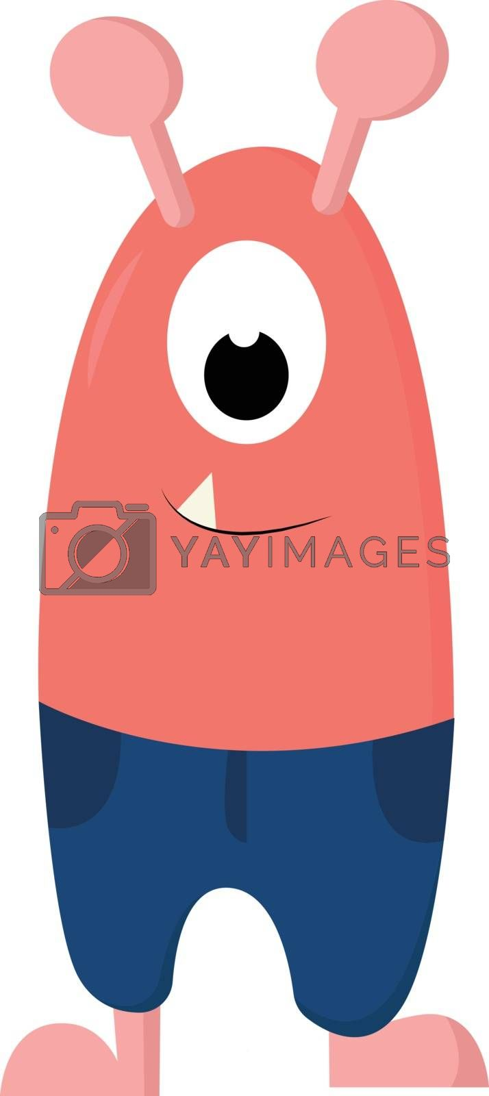 Royalty free image of Cartoon funny one-eyed pink monster in blue shorts vector or col by Morphart