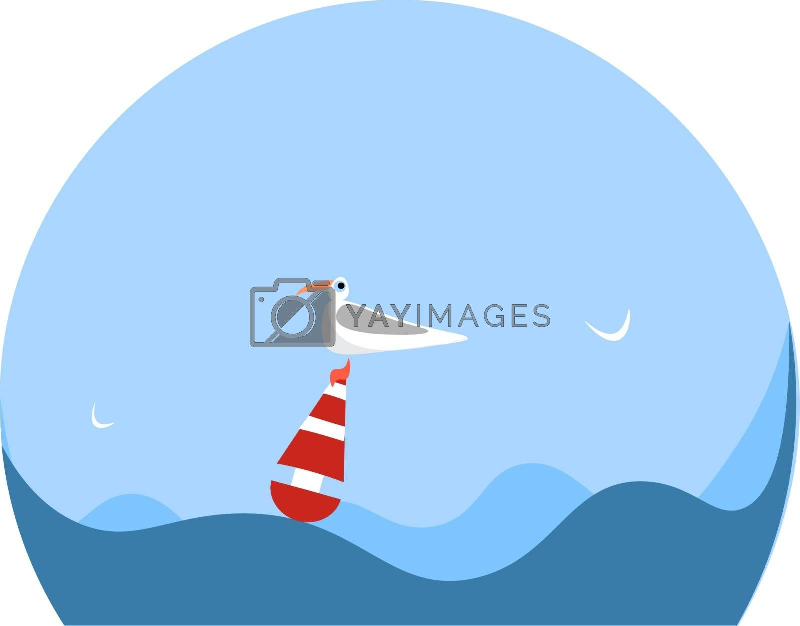 Royalty free image of Portrait of a gull bird on a buoy vector or color illustration by Morphart