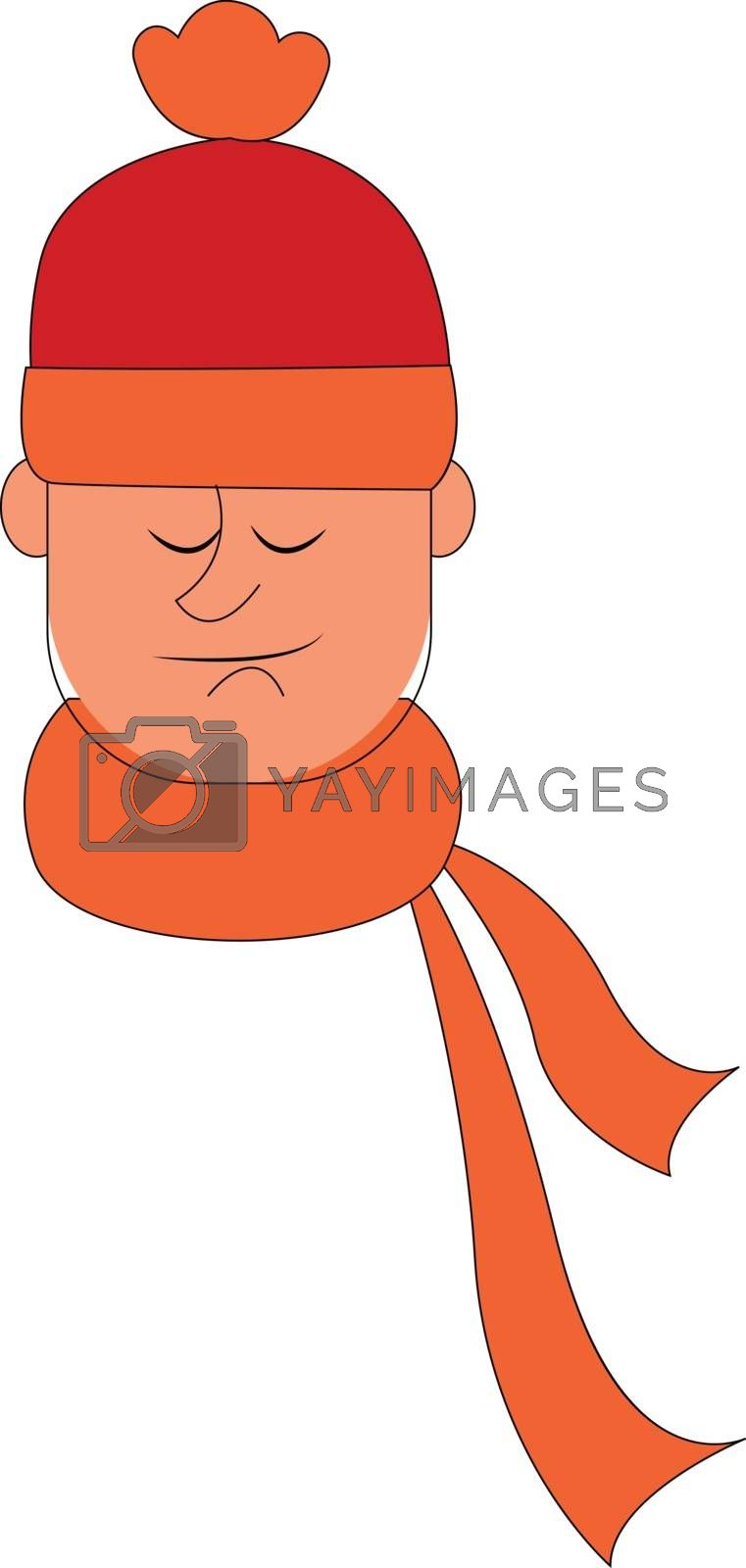 Royalty free image of A man with an orange scarf tied around his neck vector or color  by Morphart
