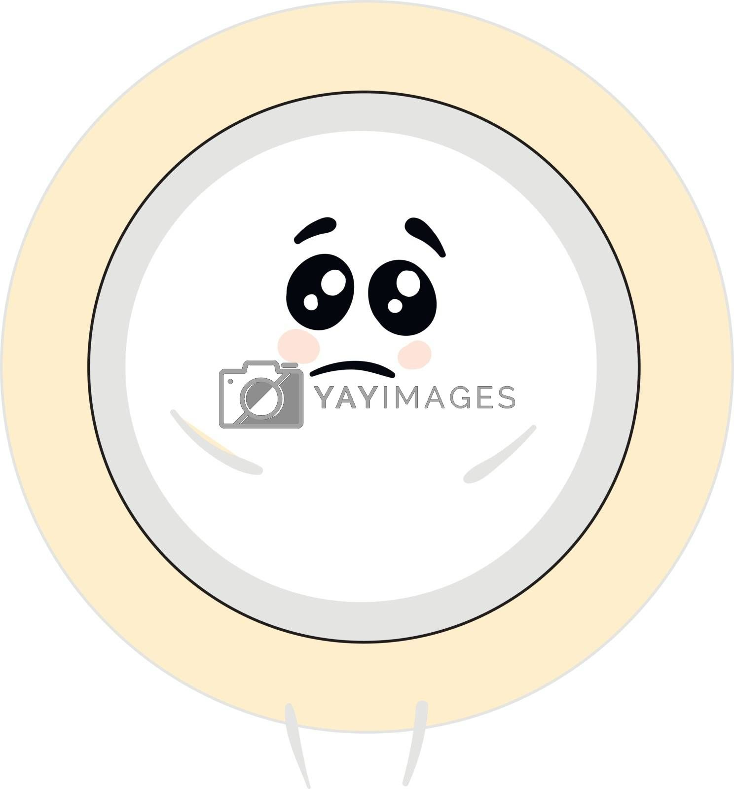 Royalty free image of Emoji of a sad white-colored plate vector or color illustration by Morphart