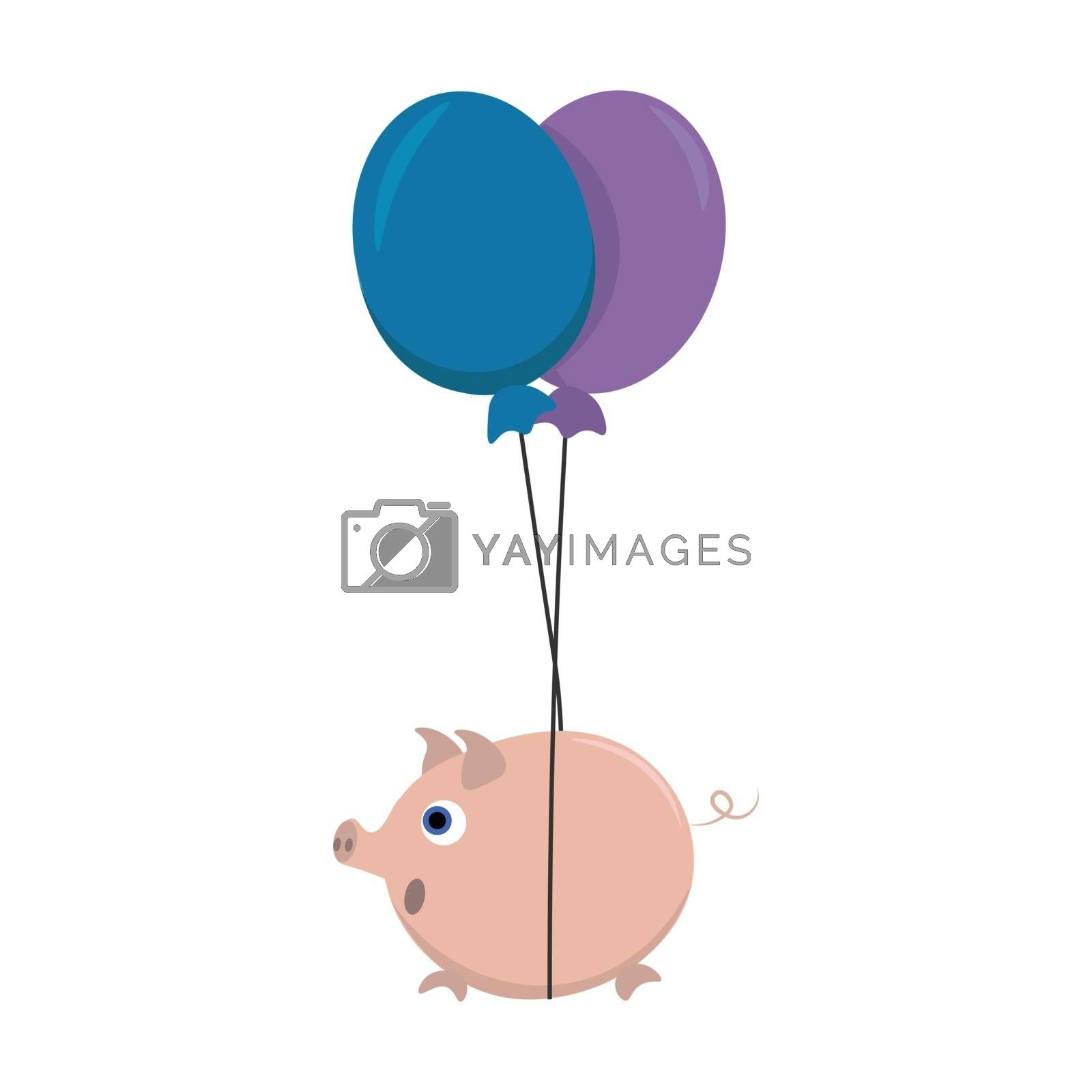 Royalty free image of Cute cartoon picture of a fat pig tied to the strings of two bal by Morphart