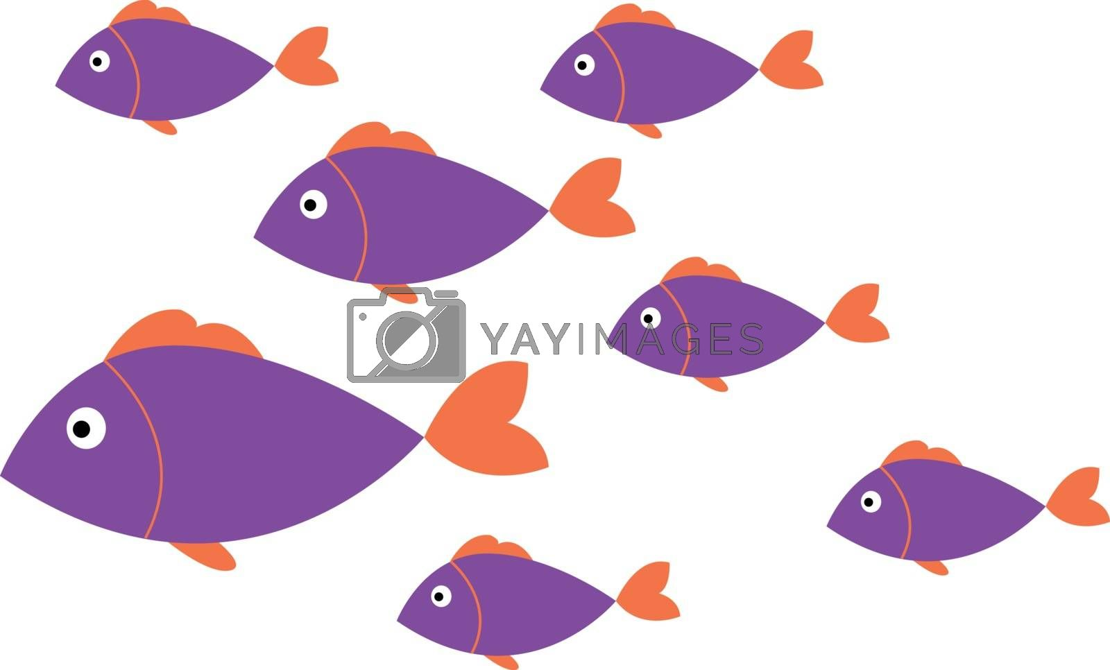 Royalty free image of Minimalistic drawing of a regular pattern of purple fish vector  by Morphart