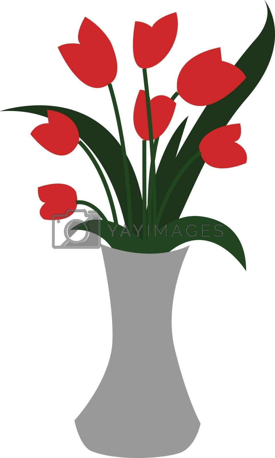 Royalty free image of Clipart of a white-colored flower vase displaying red flowers an by Morphart
