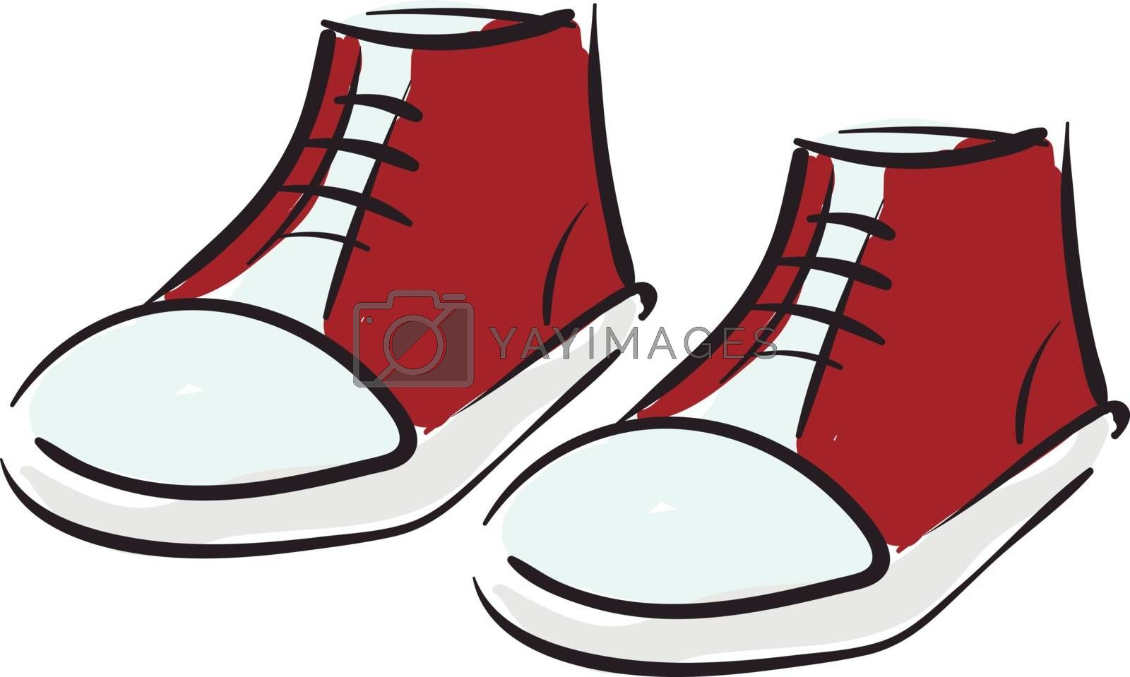 Royalty free image of Clipart of a pair of red-kids shoes vector or color illustration by Morphart