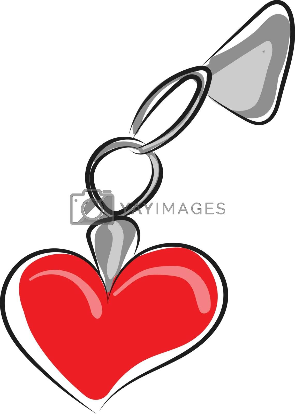 Royalty free image of Cartoon red-heart keychain vector or color illustration by Morphart