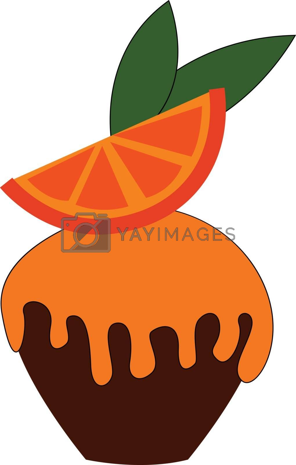 Royalty free image of Cupcake garnished with an orange pie vector or color illustratio by Morphart