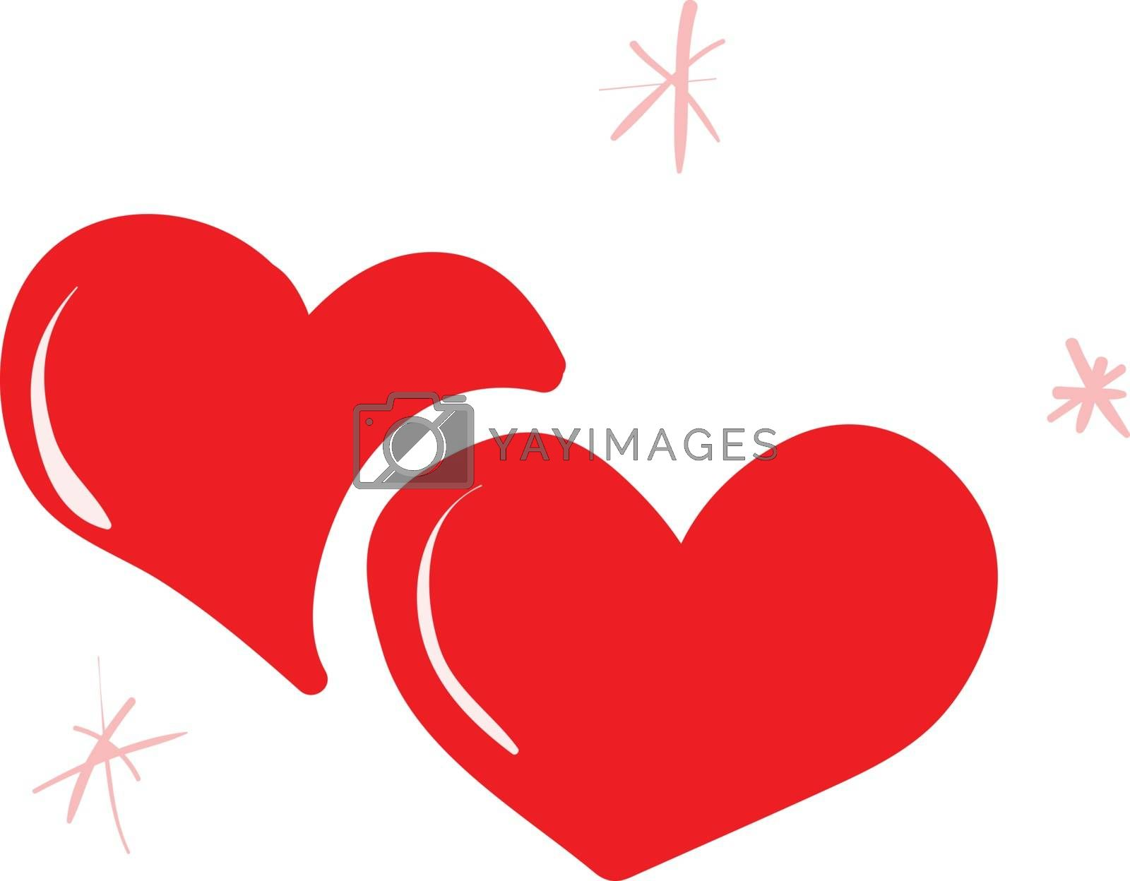 Royalty free image of Clipart of two red hearts lying one above the other vector or co by Morphart