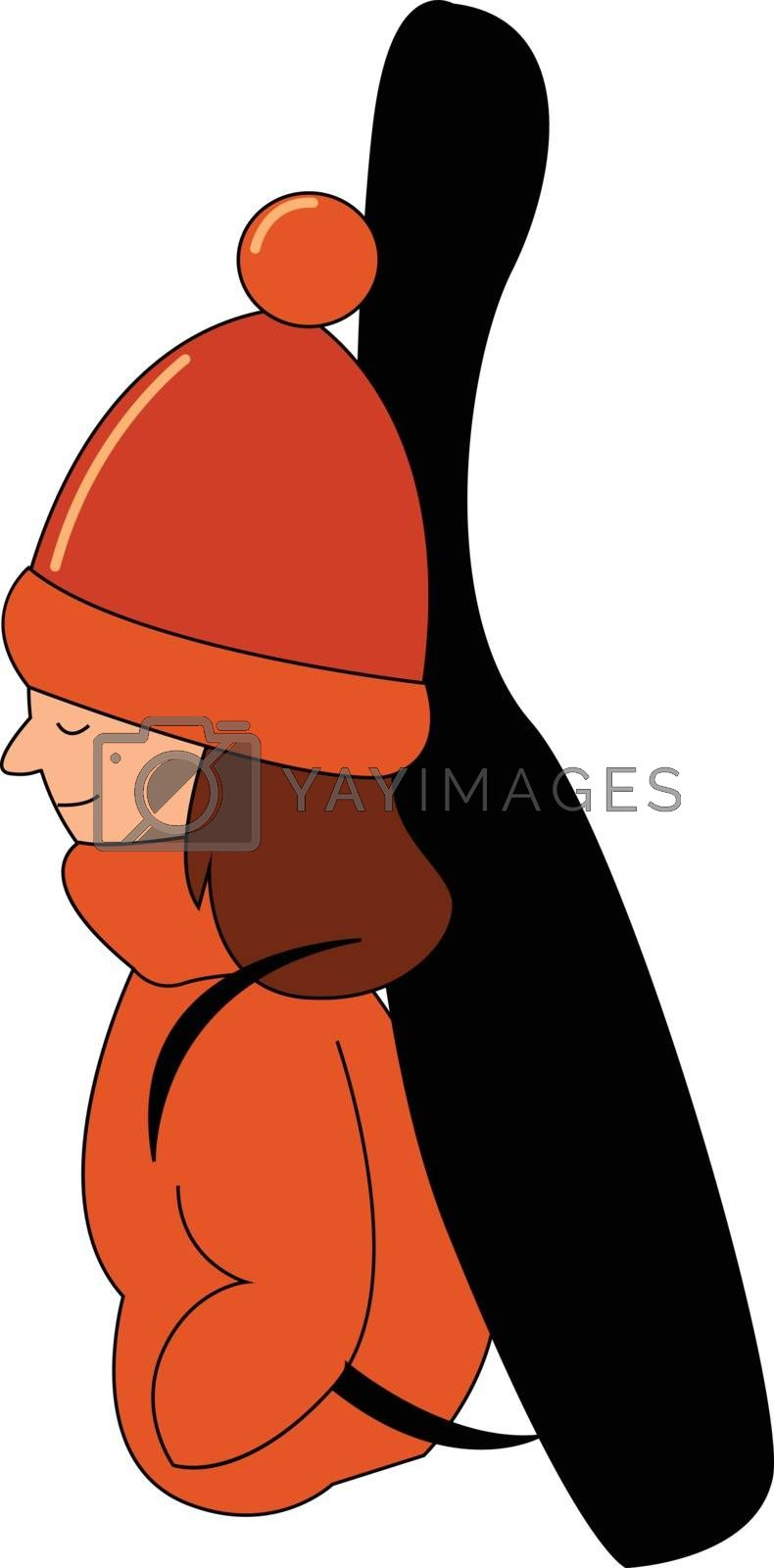 Royalty free image of Cartoon girl musician dressed in her winter clothes set on isola by Morphart