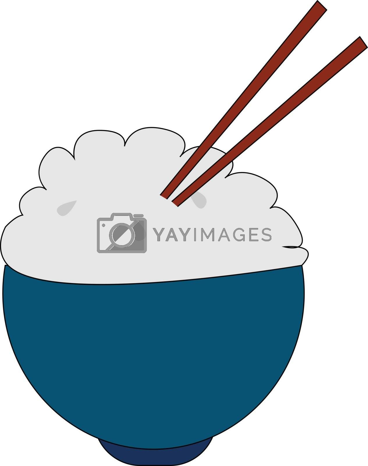 Royalty free image of Clipart of a bowl of rice with two wooden spatulas vector or col by Morphart