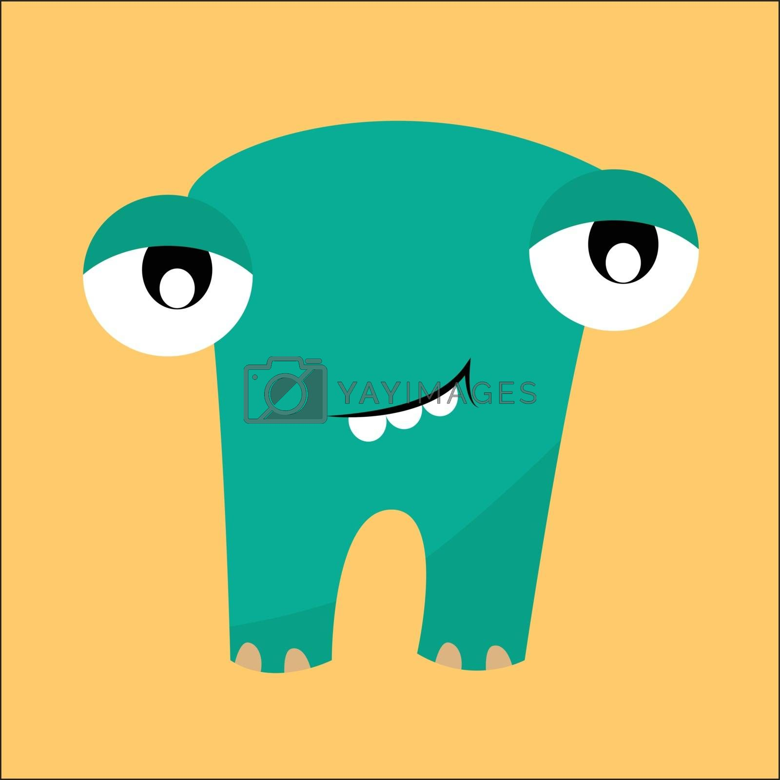 Royalty free image of Clipart of a smiling blue-colored monster set on isolated yellow by Morphart