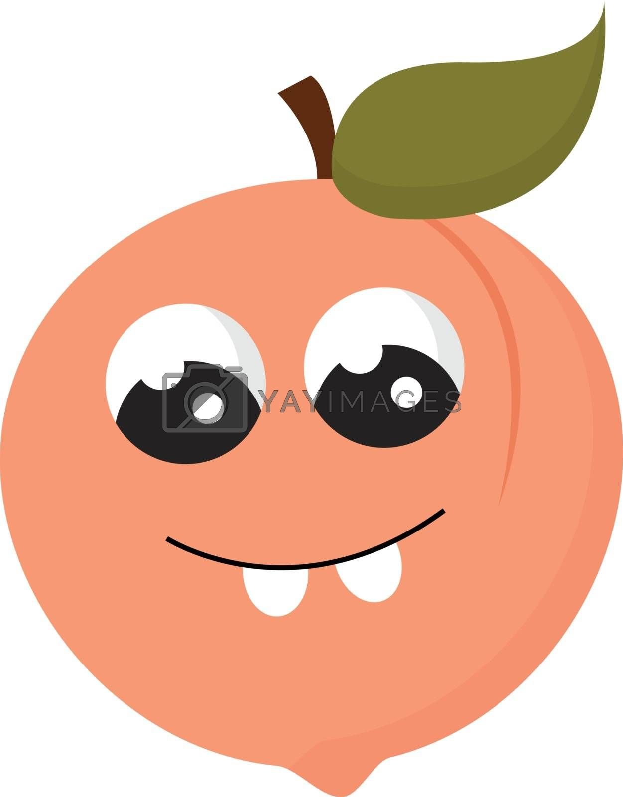 Royalty free image of Emoji of smiling peach fruit vector or color illustration by Morphart