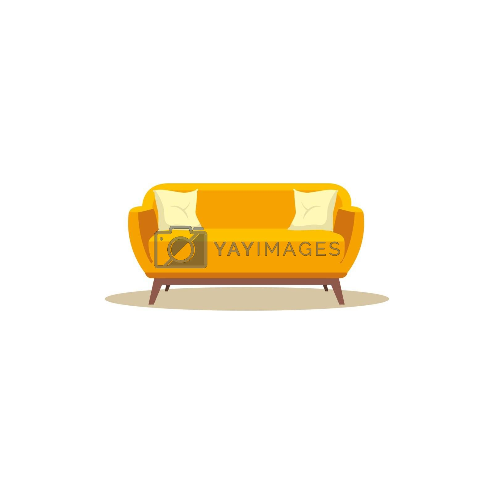 Royalty free image of A yellow-colored sofa vector or color illustration by Morphart