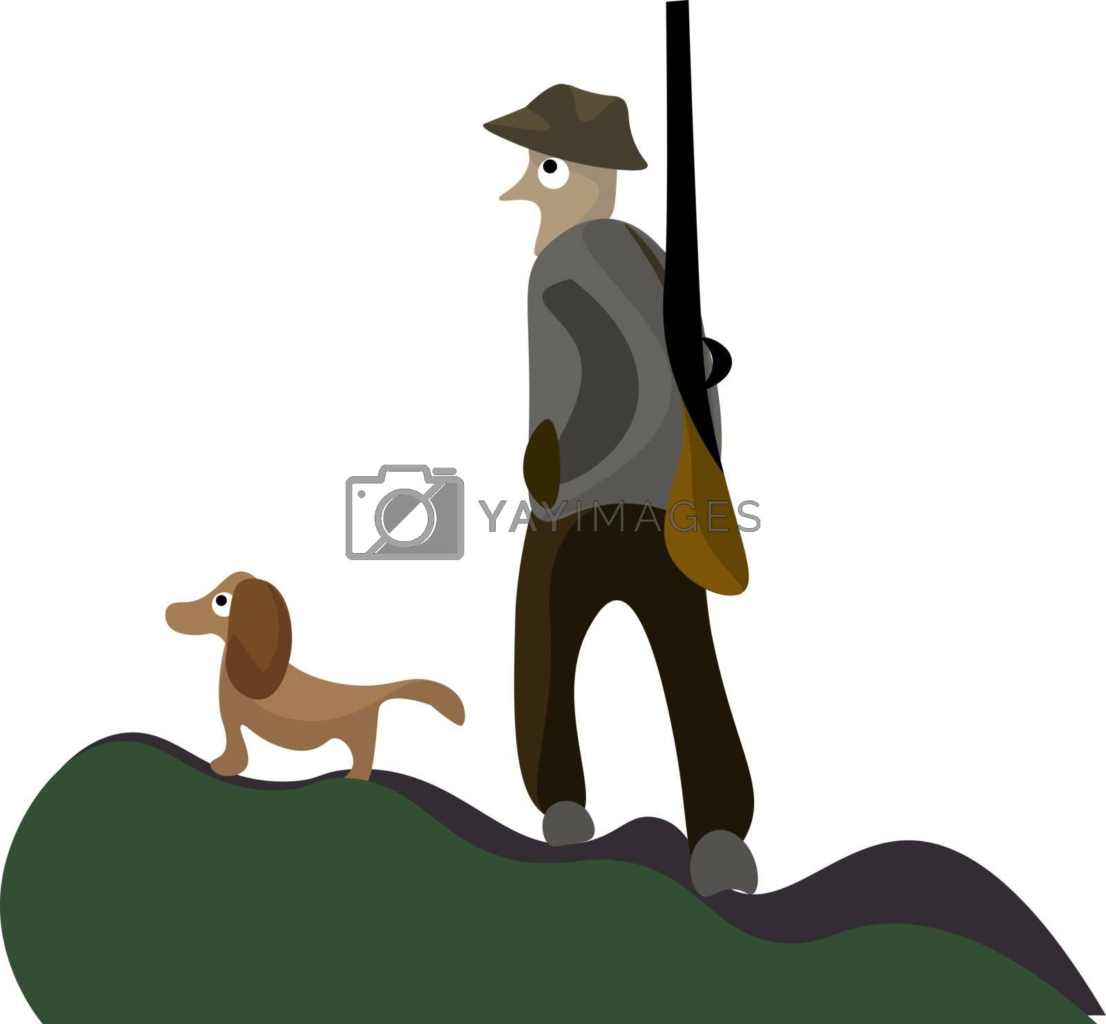 Royalty free image of A portrait of a hunter and his dog vector or color illustration by Morphart
