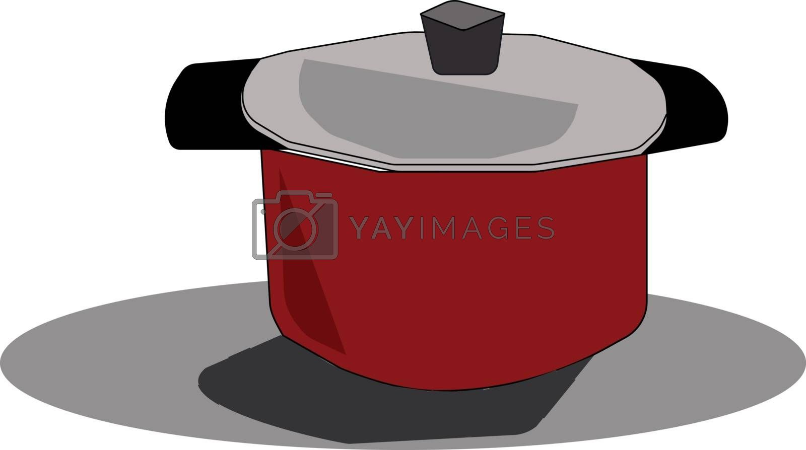 Royalty free image of Clipart of a red cookware with tempered glass lid vector or colo by Morphart