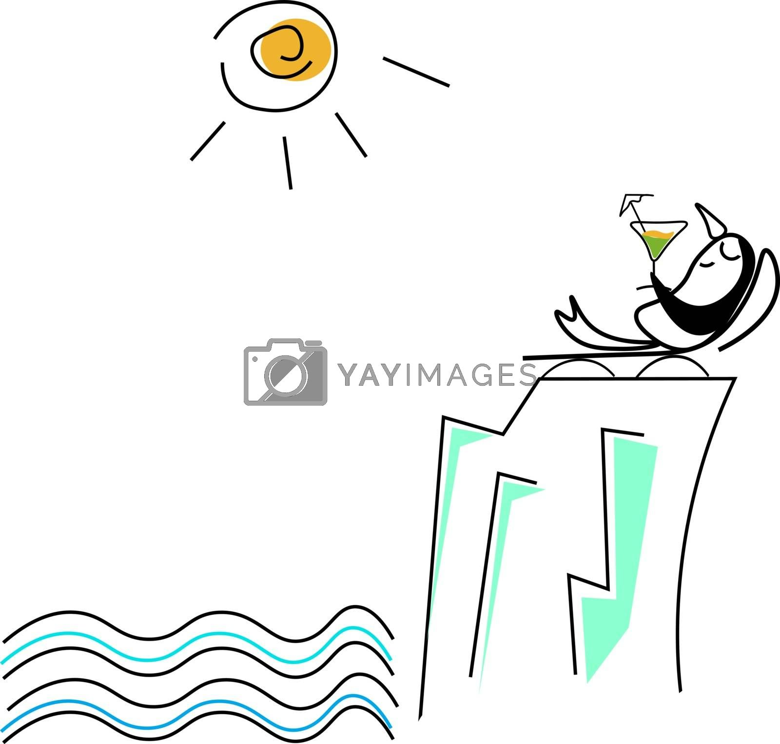 Royalty free image of Cute little penguin sunbathing on a lounge chair vector or color by Morphart