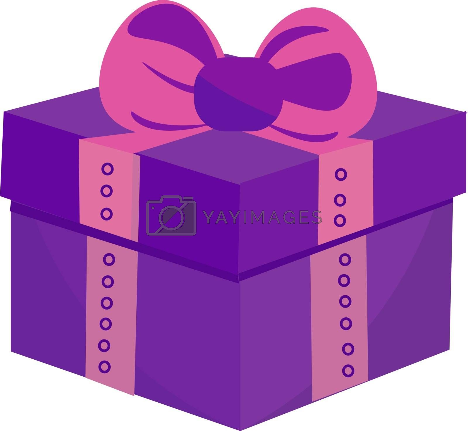 Royalty free image of Drawing of a square purple-colored gift box vector or color illu by Morphart