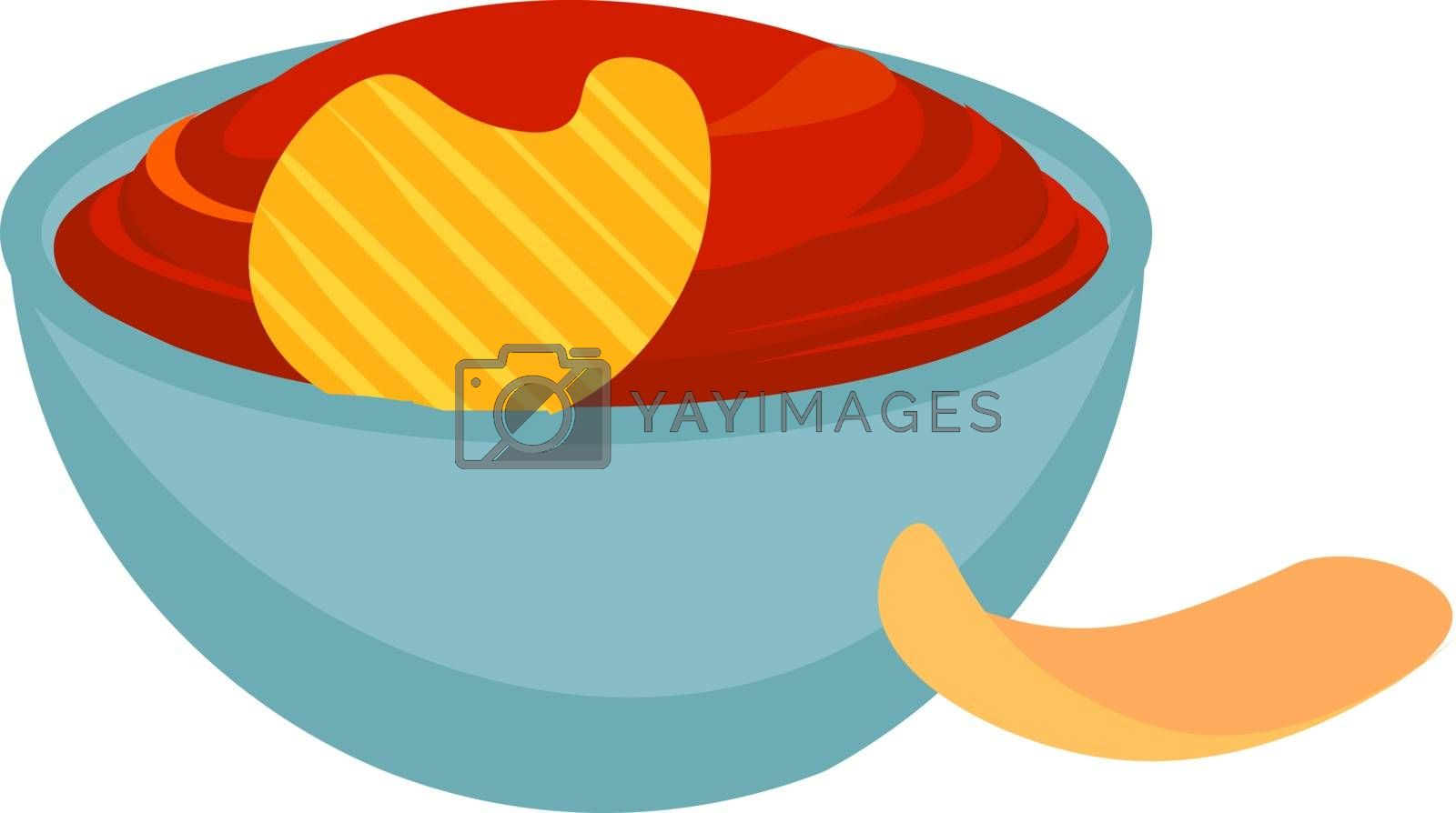 Royalty free image of A giant blue bowl filled with sauce and garnished with a single  by Morphart
