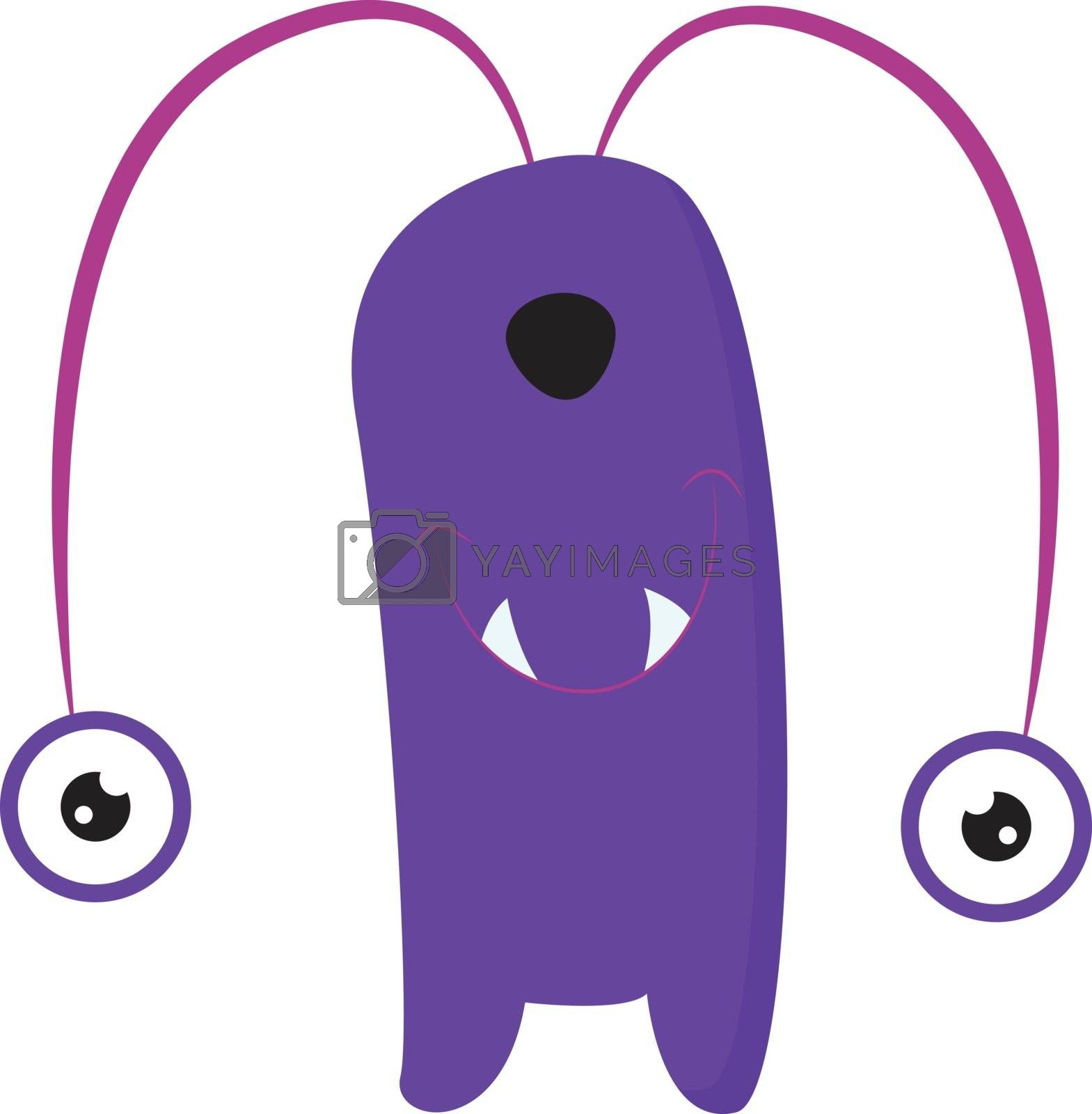 Royalty free image of Cartoon funny purple monster with two round eyes hanging down ve by Morphart