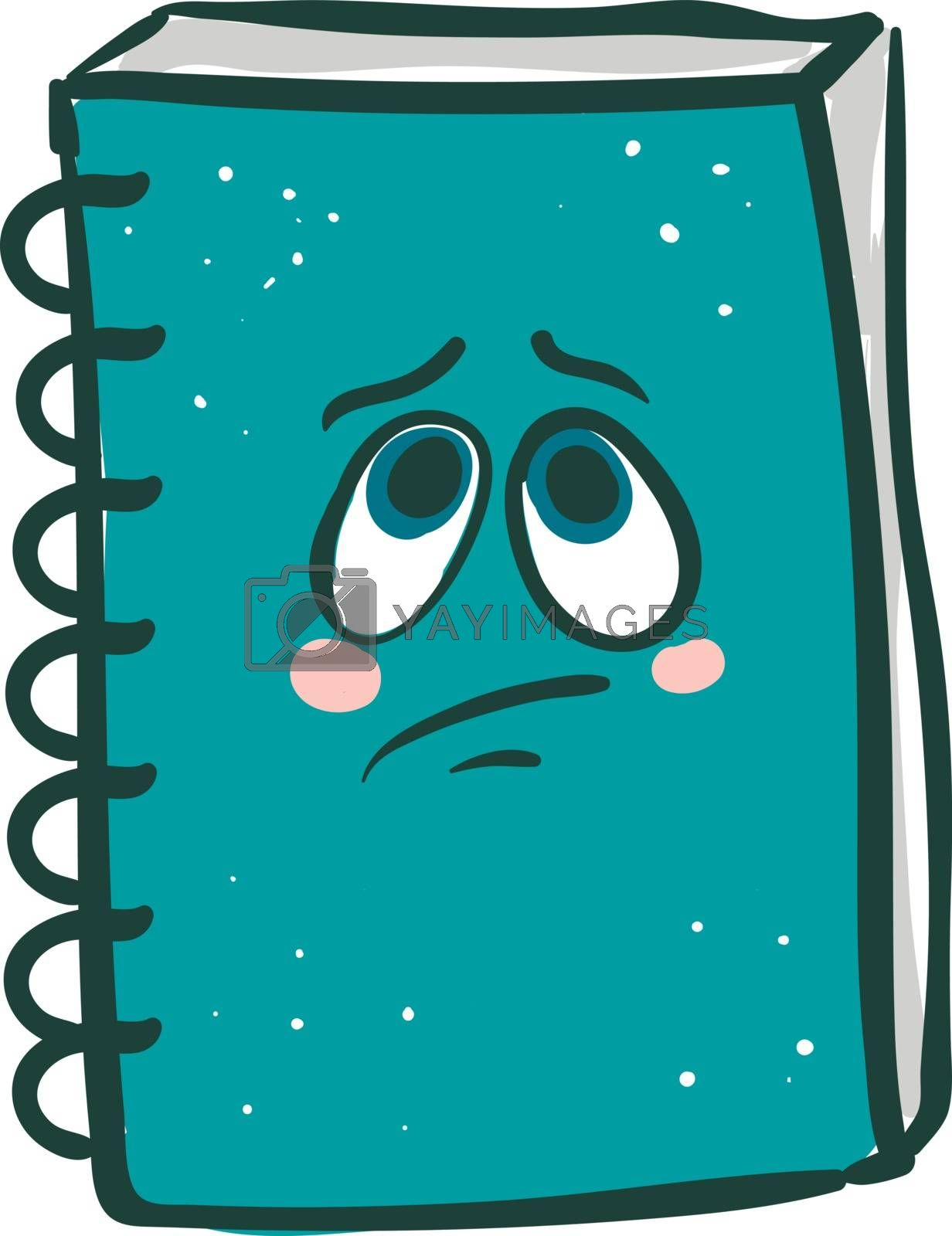 Royalty free image of Emoji of a sad spring wirebround blue-colored notebook vector or by Morphart